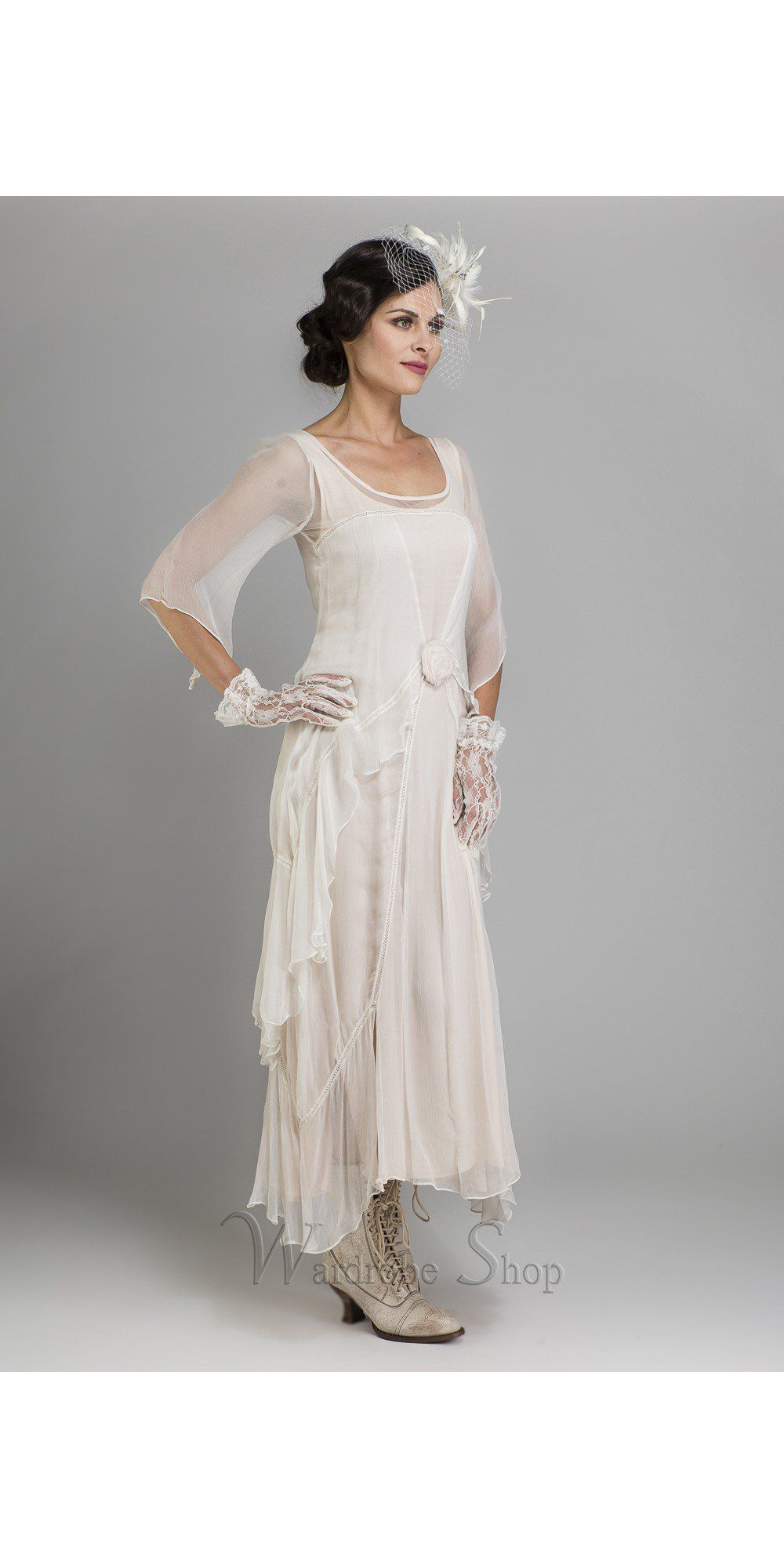 fbb48d8635 Beautiful vintage inspire alternative wedding dress by Nataya. Embellished  with a beautiful rosette in the