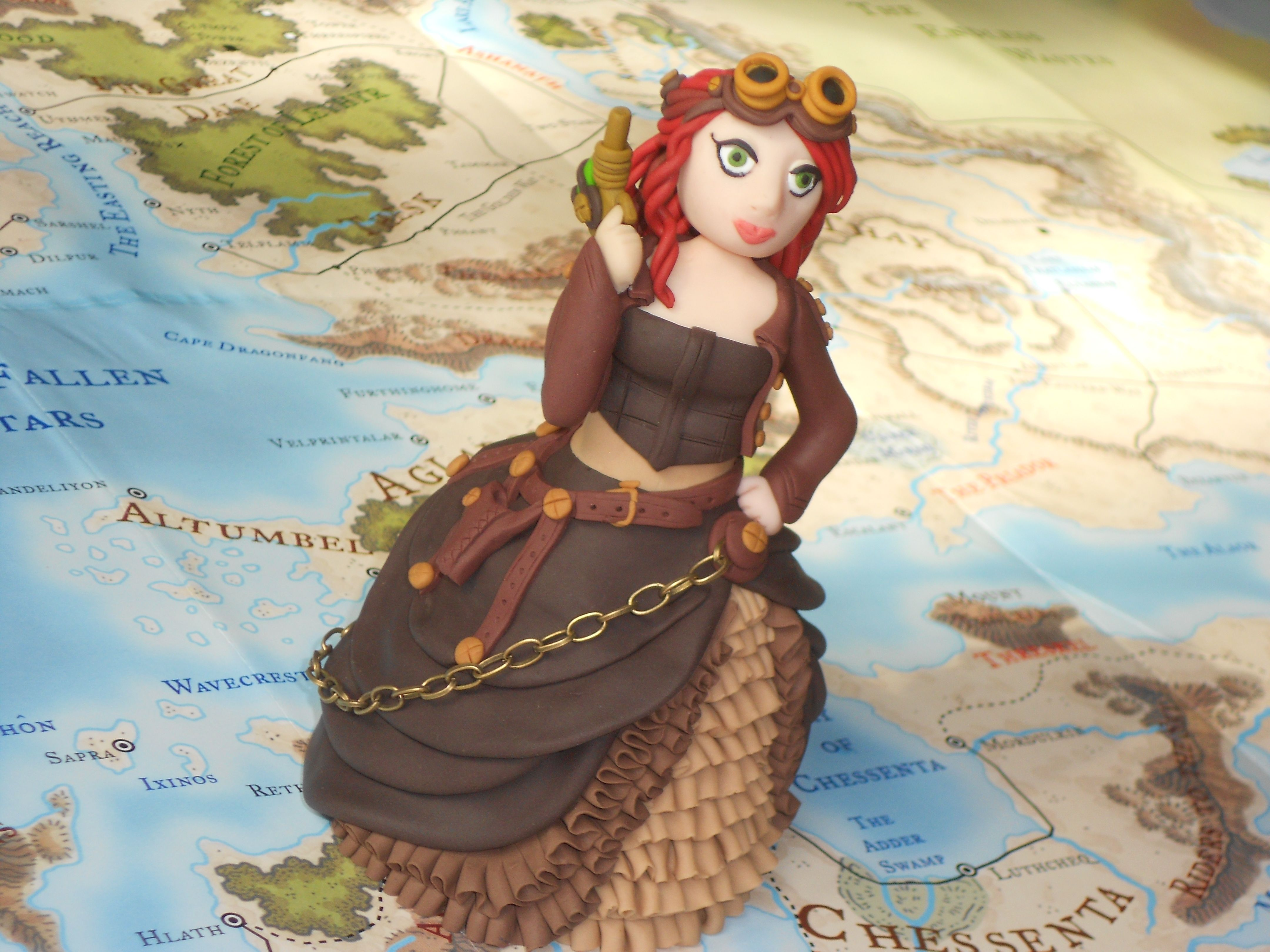 Polymer clay fimo steampunk steam girl figurine or cake topper