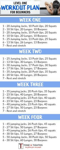 One-month workout plan for beginners! Follow the link for video descriptions of exercises. From Tone-and-Tighten.com