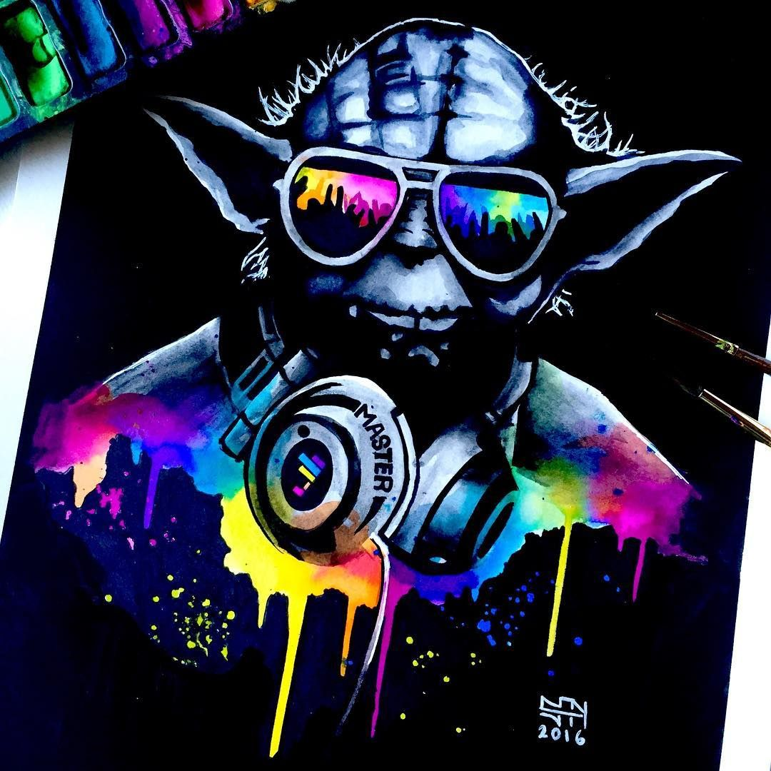 Нšœðš¢ðšðš—𝚎𝚢 En Instagram Dj Yoda Watercolor Painting Made With Koi Watercolor And Dylusions Ink There Is A Time Lapse Video On Youtube Li In 2020 Muziek