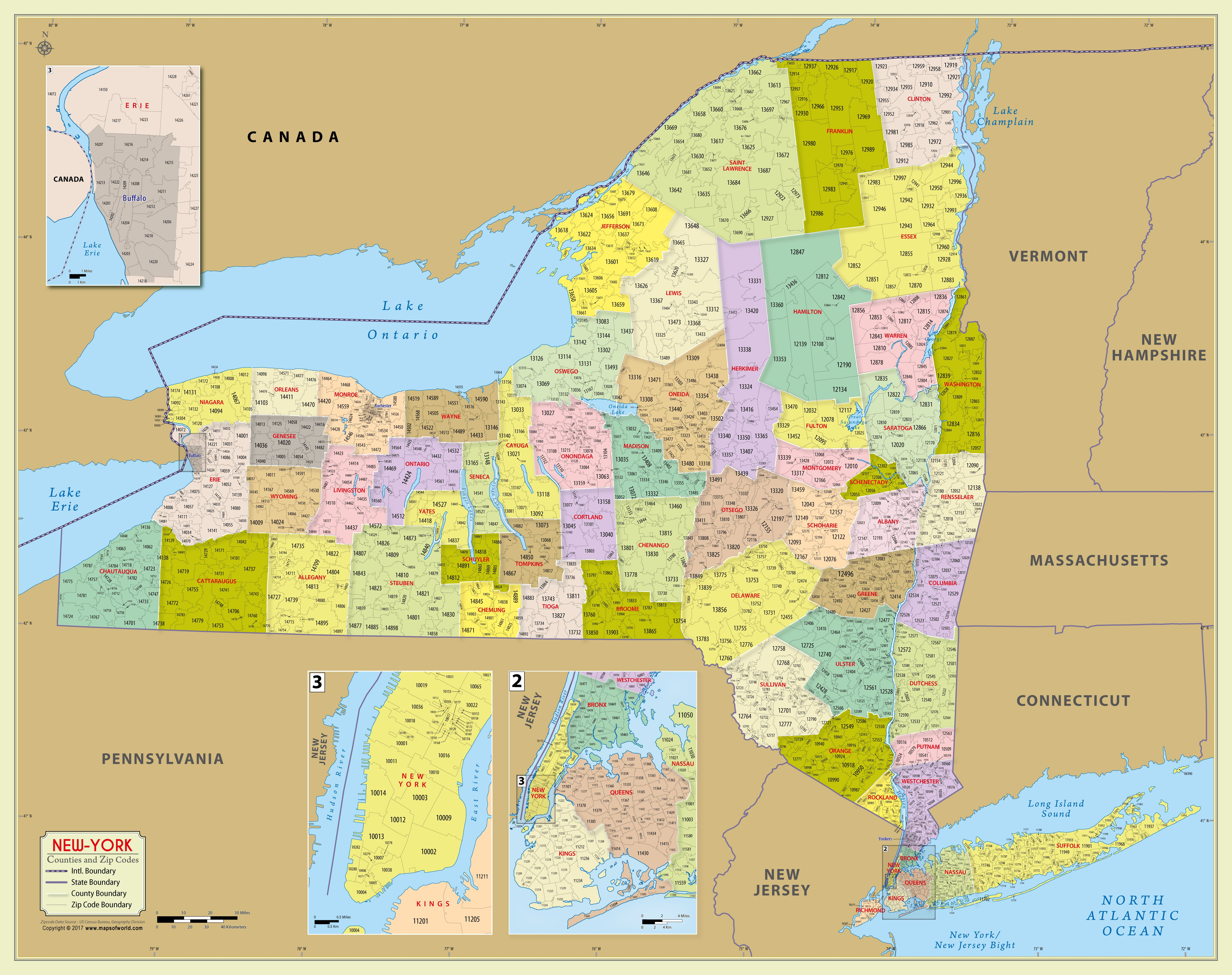 New York Zip Code Map New York Zip Code Map With Counties (48″ W x 38″ H) (With images