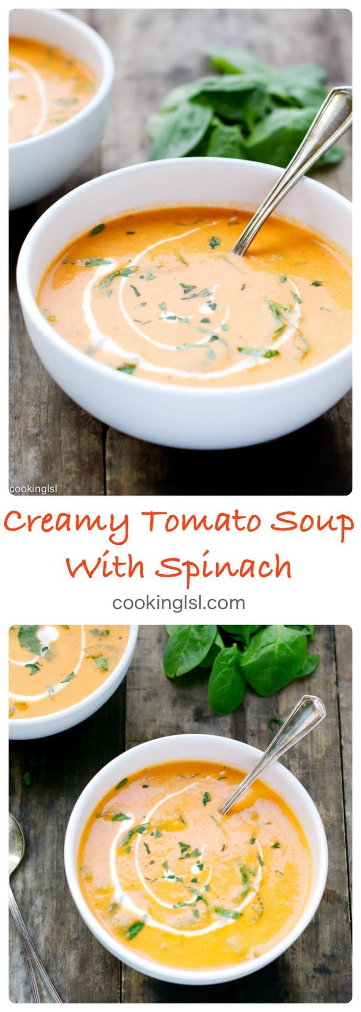 Creamy Tomato And Spinach Soup #spinachsoup