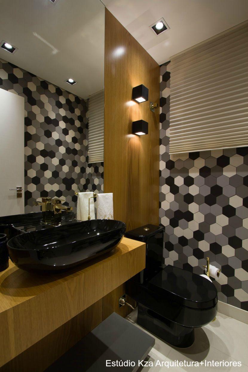 Banheiro, vaso sanitário preto, cuba deca preta , revestimento mosarte #estúd -> Cuba E Vaso Para Banheiro