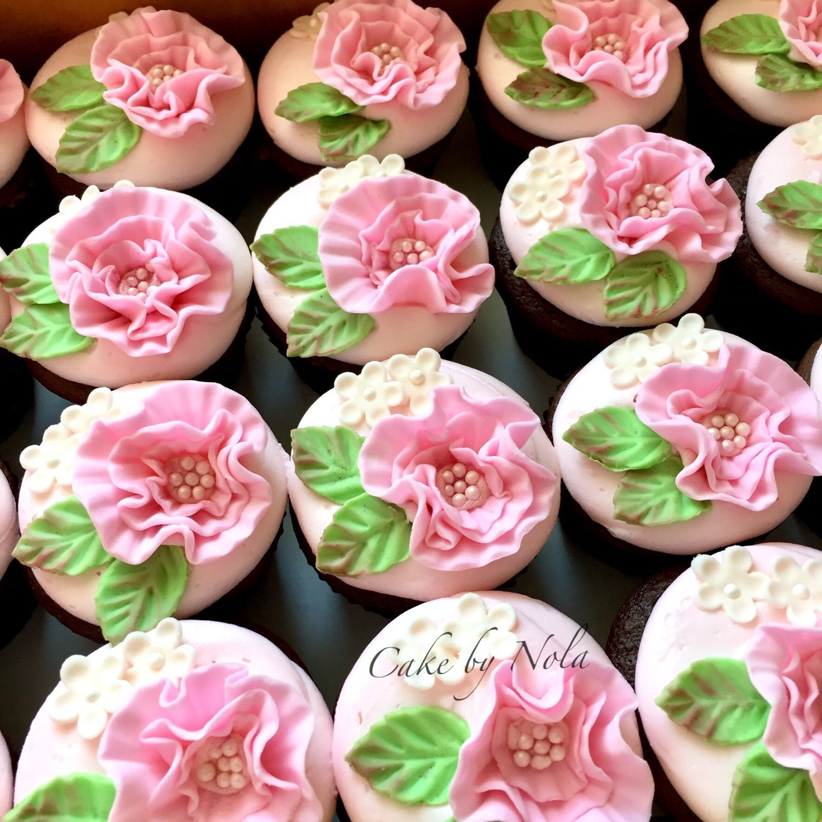 Pretty Pink Flower Cupcakes To Accompany Miss Mollys Shower Cake