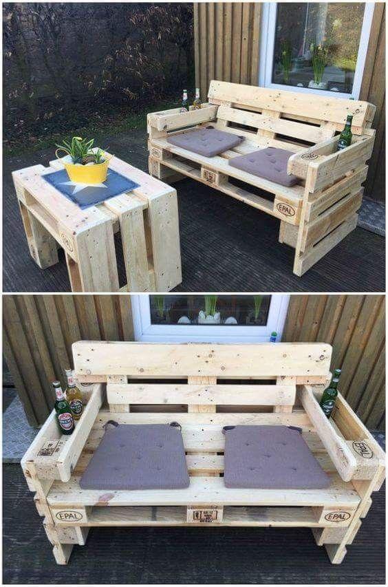 Muebles bello Jardín Pinterest Bellisima, Palets y Madera - como hacer bancas de madera para jardin