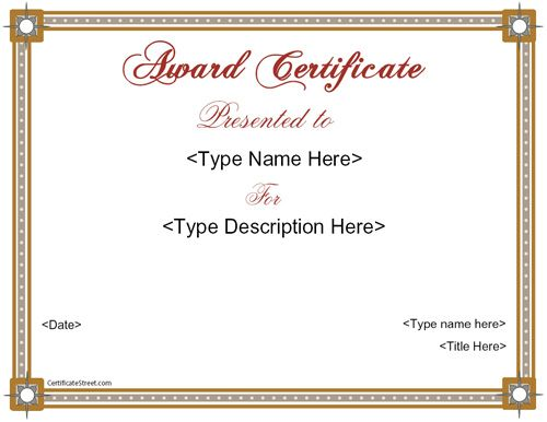 Education Certificate - Award Certificate CertificateStreet - business certificates templates