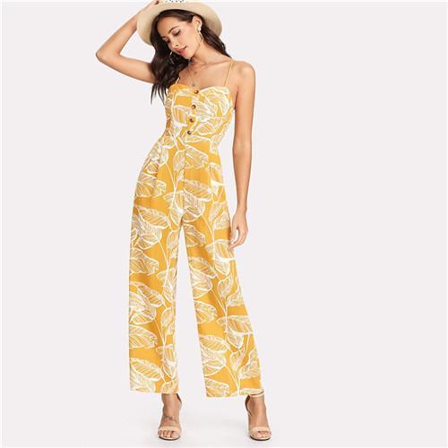 fa771a9f493 High waisted palm leaf print jumpsuit with spaghetti straps.Length  Full  LengthColor  GingerWaist Type  High WaistDecoration  Button