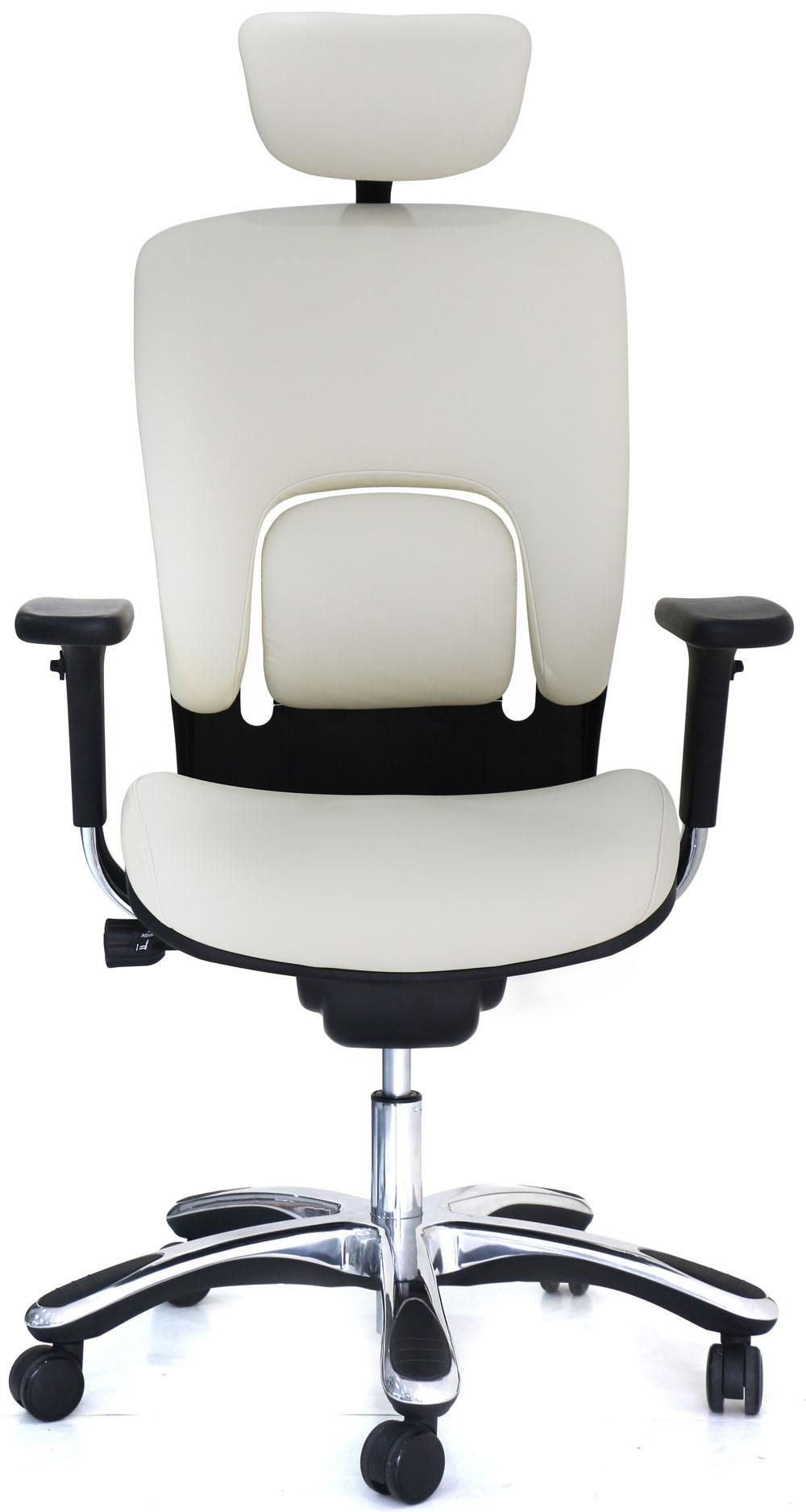 White Ergolux Genuine Leather High Back Executive Office Chair Front View White Leather Chair Best Ergonomic