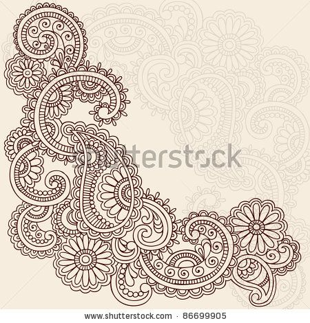 stock vector : Hand-Drawn Abstract Henna Mehndi Swirls, Flowers and ...