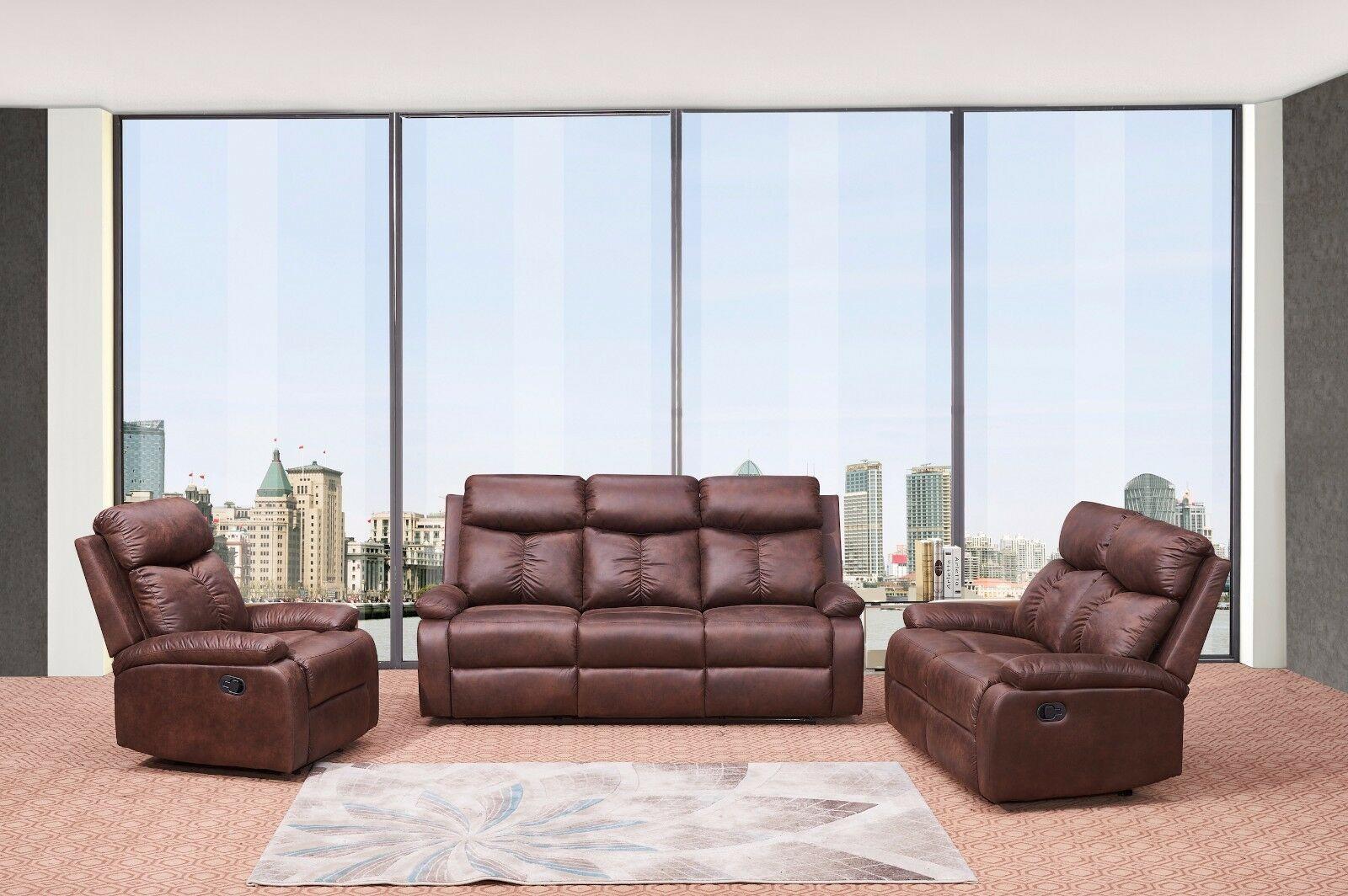 Betsy Furniture 3 Pc Recliner Sofa Set Living Room Microfiber Fabric Brown 8065 Sofa Set Ideas In 2020 3 Piece Living Room Set Living Room Sets Living Room Leather