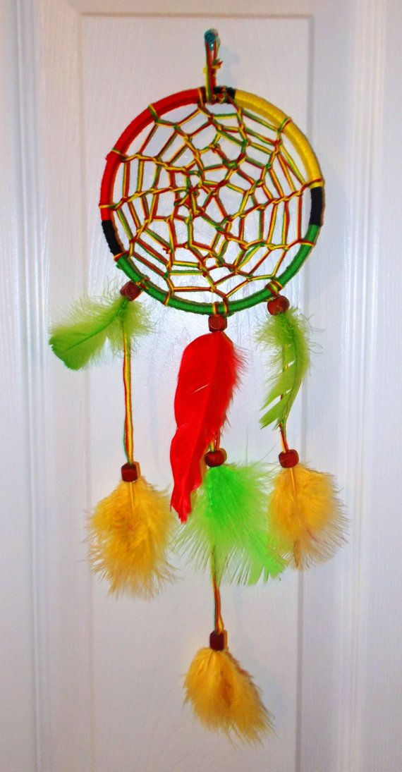 Handmade Red Yellow   Green Rasta 5  Dream Catcher. Rasta color roon   Hippie rooms i like   Pinterest   Colors and