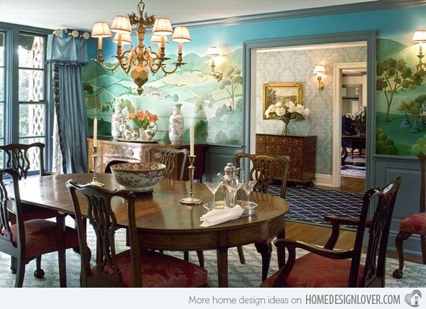 20 Conventional Dining Rooms With Wallpaper Murals Home Design Lover Beautiful Dining Rooms Formal Dining Room Decor Dining Room Murals