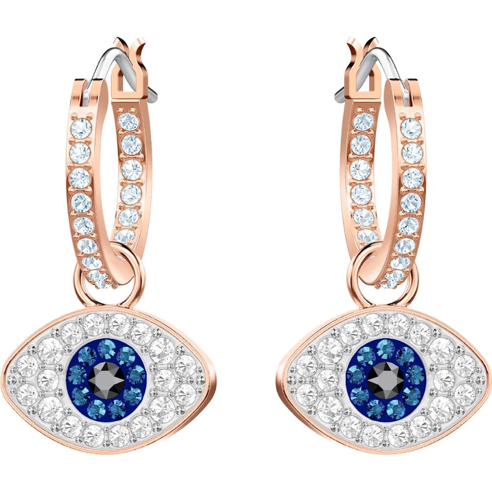 Photo of Symbolic Evil Eye Hoop Pierced Earrings, Multi-colored, Rose-gold tone plated,  #Earrings #Ev…