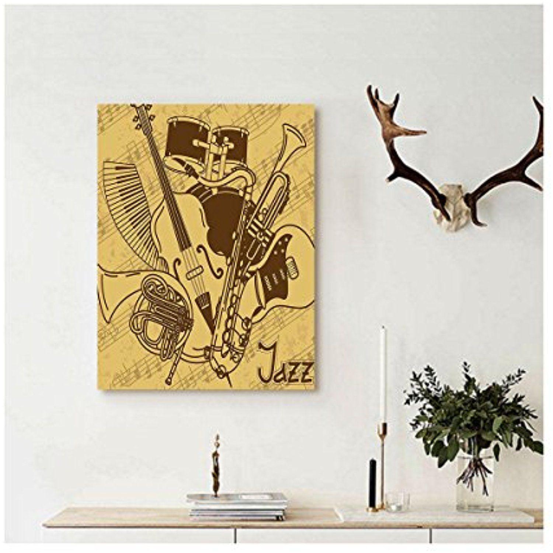 Liguo88 Custom canvas Jazz Music Decor Wall Hanging Jazz Music ...