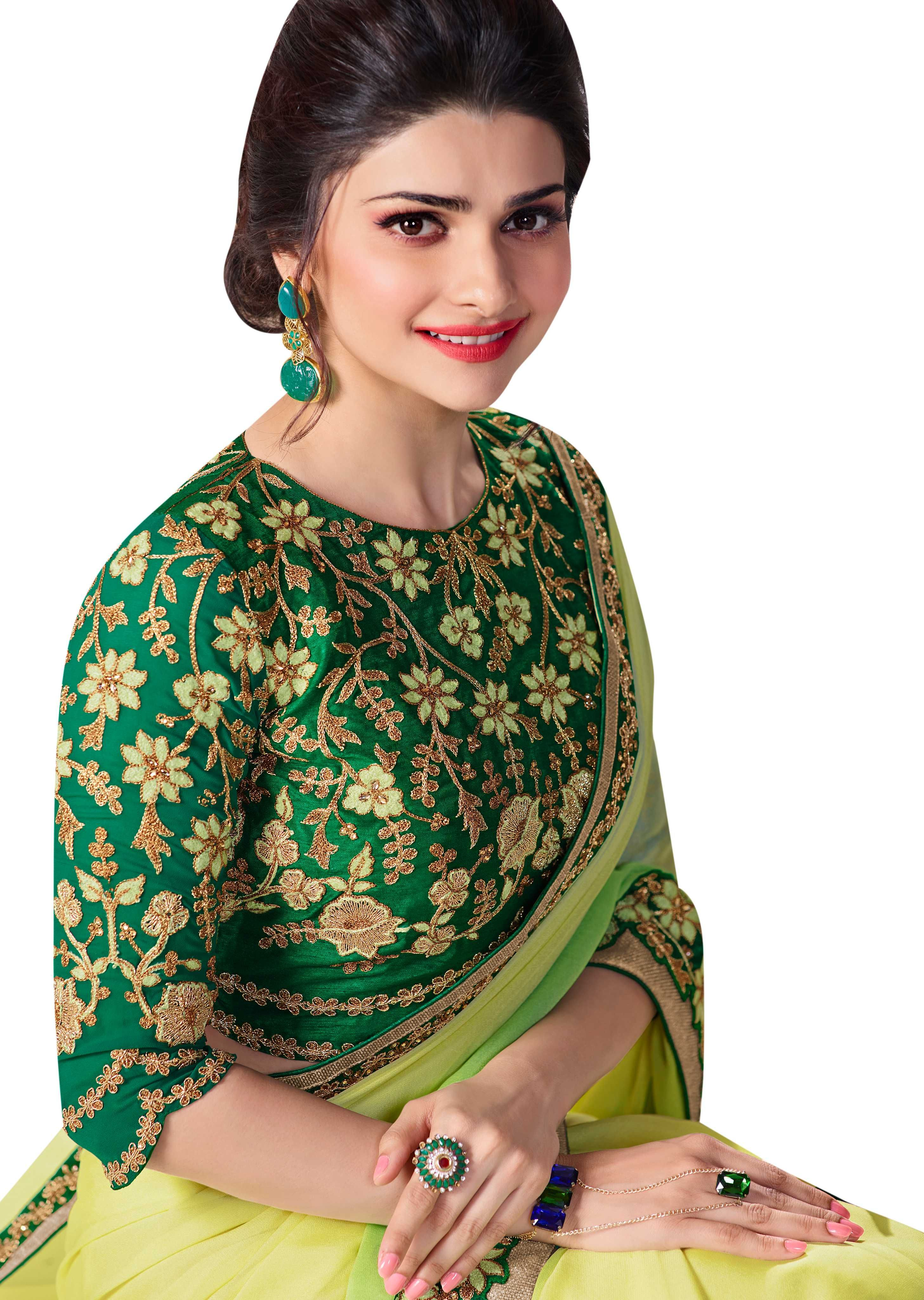 f9bd7ae1558f7 Party Wear Saree In Green Georgette With Embroidery