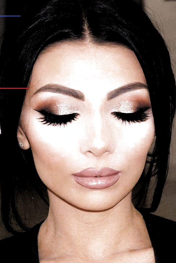 Check natural Prom makeup for brown eyes simple winged liner, rose gold Prom makeup simple,
