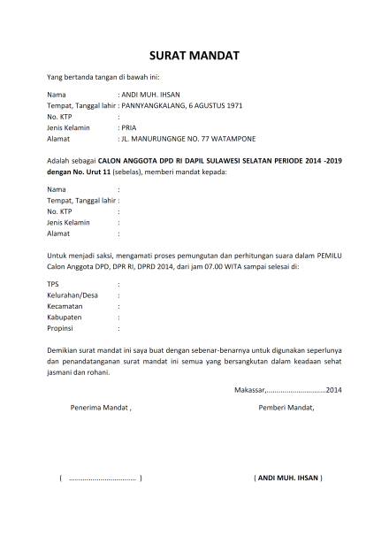 Contoh Bentuk Surat Mandat Surat Gambar Tanggal