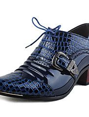 MasculinoConforto Botas de Cowboy Gladiador-Salto Grosso-Azul-Couro Envernizado-Escritório & Trabalho Festas & Noite Work & Safety