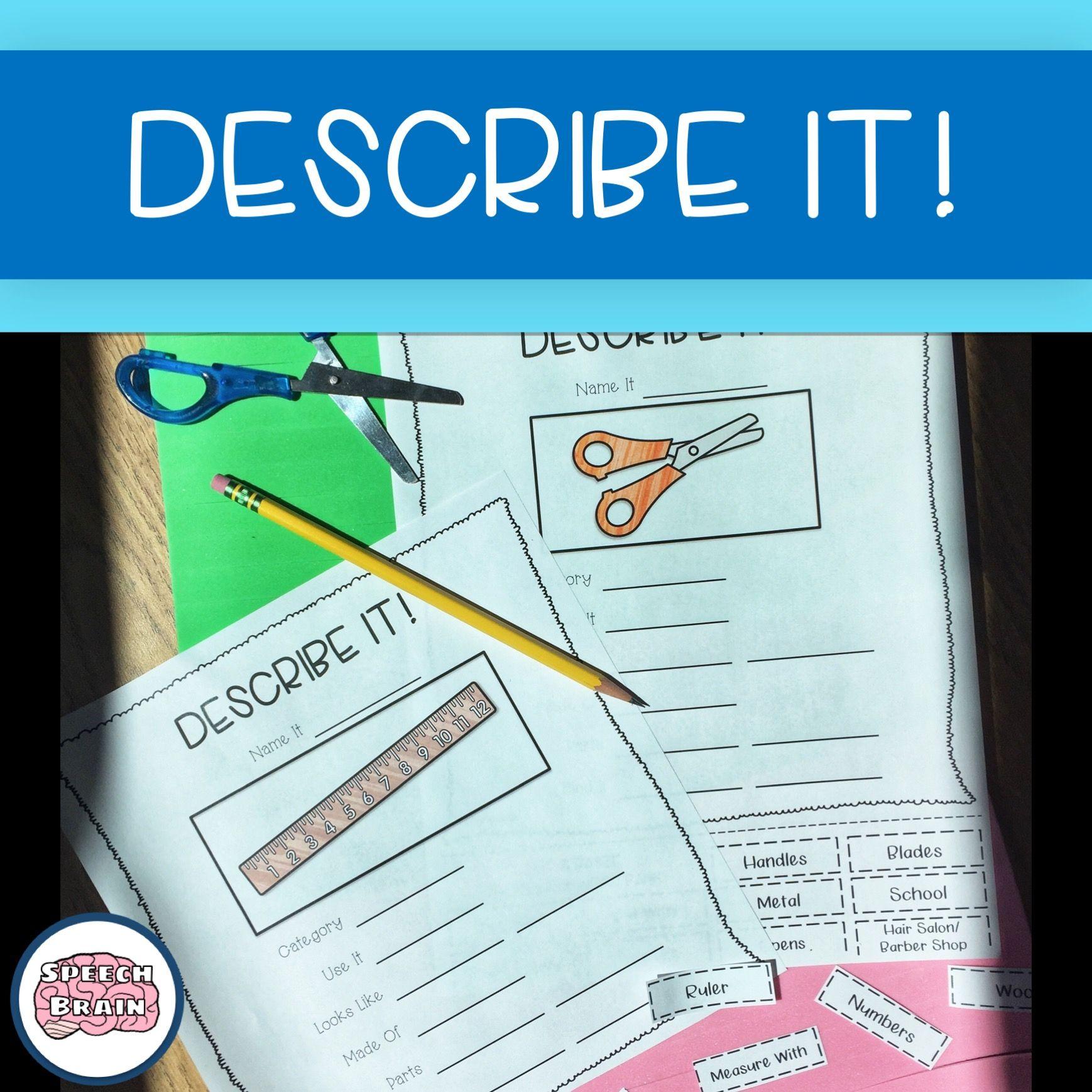 Describe It School Supplies No Prep Semantic Language