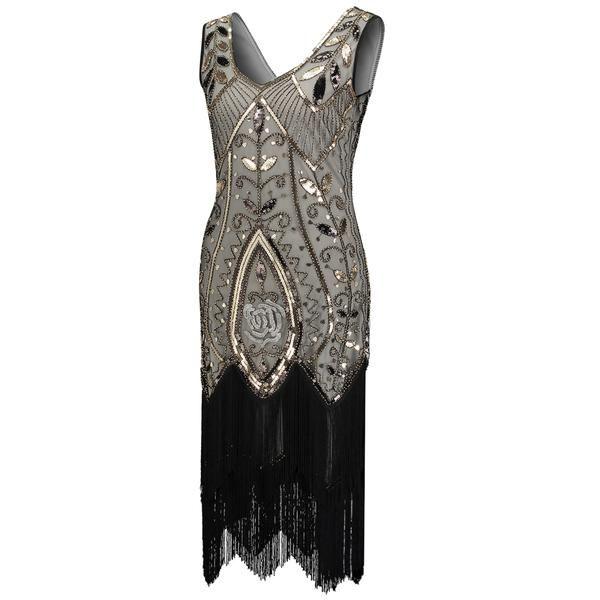 325c9672488 1920s Flapper Gatsby Gala V-neck Sleeveless Tiered Fringe Sequin Dress – 1920s  Gatsby Gala