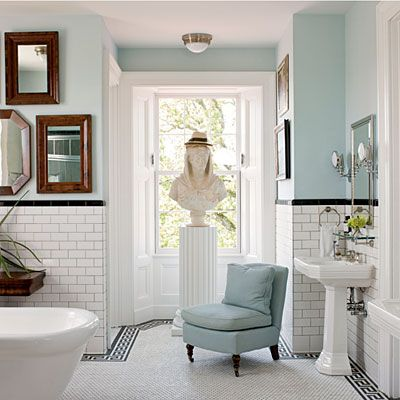 Bring Blue Into Your Room Black And White Tiles Bathroom White Bathroom Tiles White Tiles