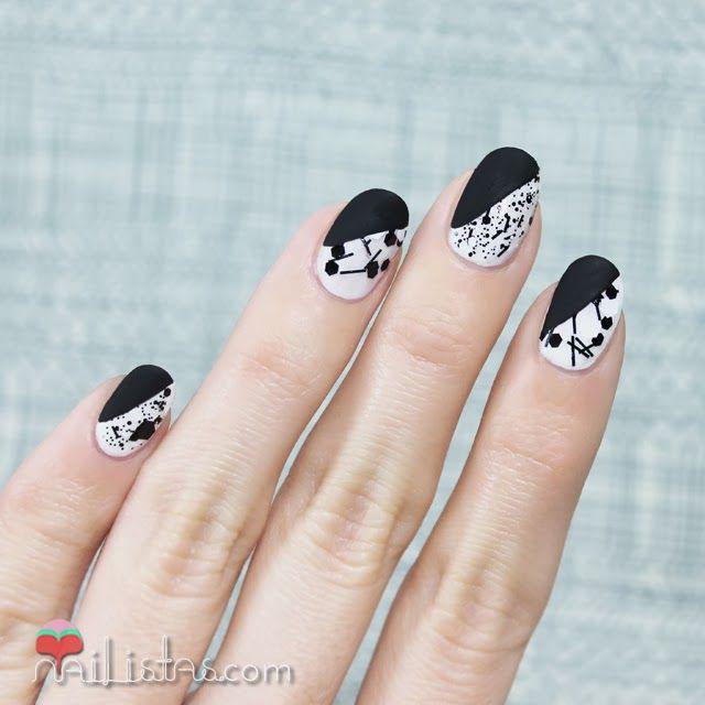 Uñas decoradas en blanco y negro mate http://www.nailistas.com ...