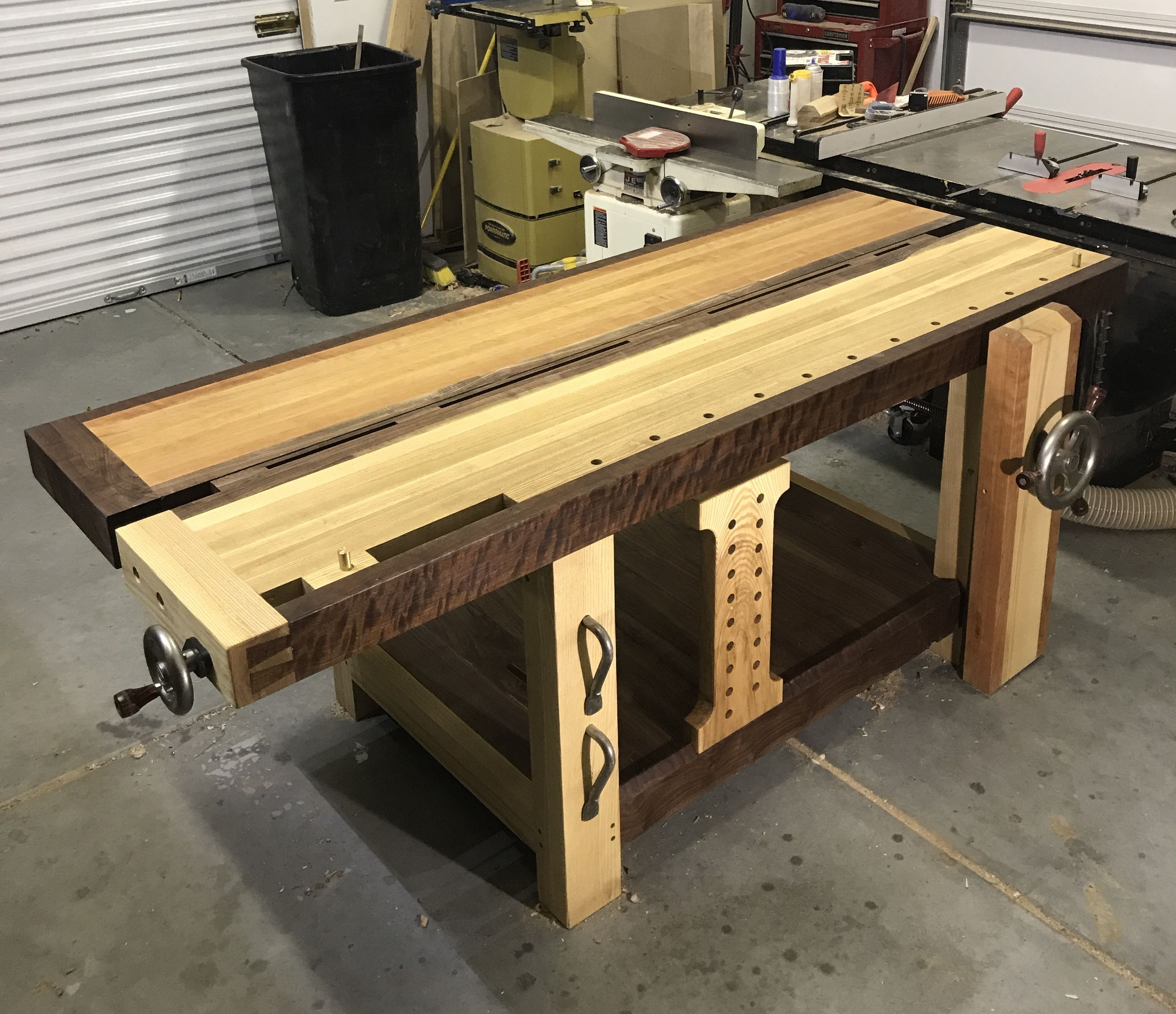 Split top roubo workbench. Hand crafted by derrick idbeis