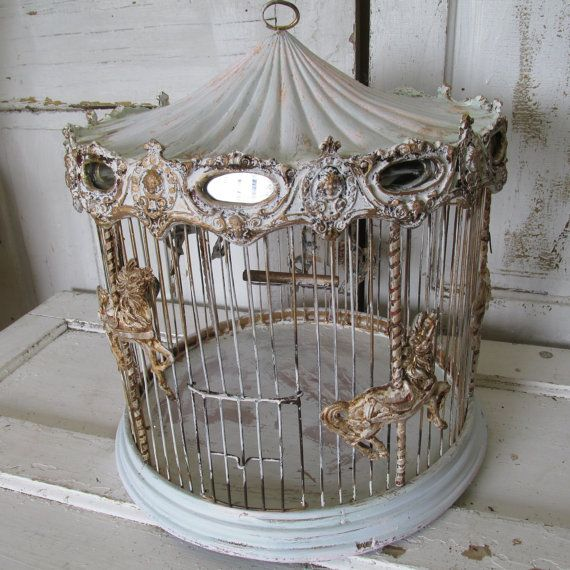 Carousal Bird Cage Antique Wood Wire Ornate Merry Go Round Vintage Bird Cage Antique Bird Cages Bird Cage Decor