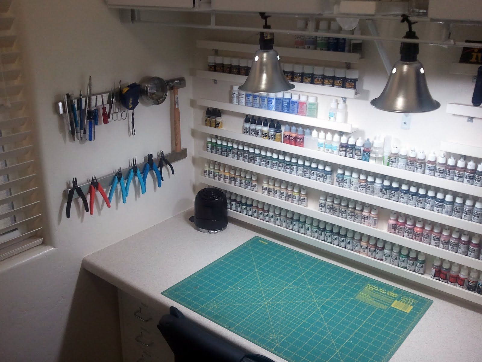 workbench lighting ideas. Craft Room: Small Shelves On Wall, Magnetic Tool Storage, Big Cutting Mat, Good Lighting. Workbench Lighting Ideas S
