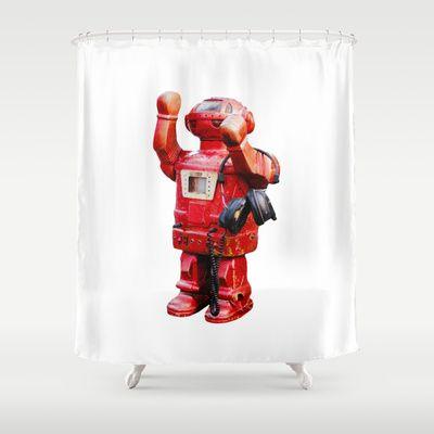 Bibot Robot Shower Curtain By Revital Naumovsky