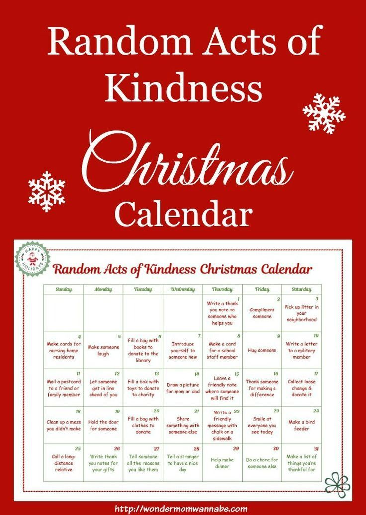 This random acts of kindness Christmas calendar was created just for