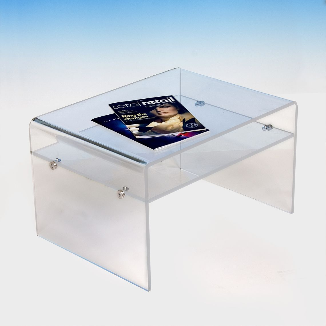 Acrylic coffee table with shelf tv stand acrylic design acrylic coffee table with shelf tv stand geotapseo Gallery
