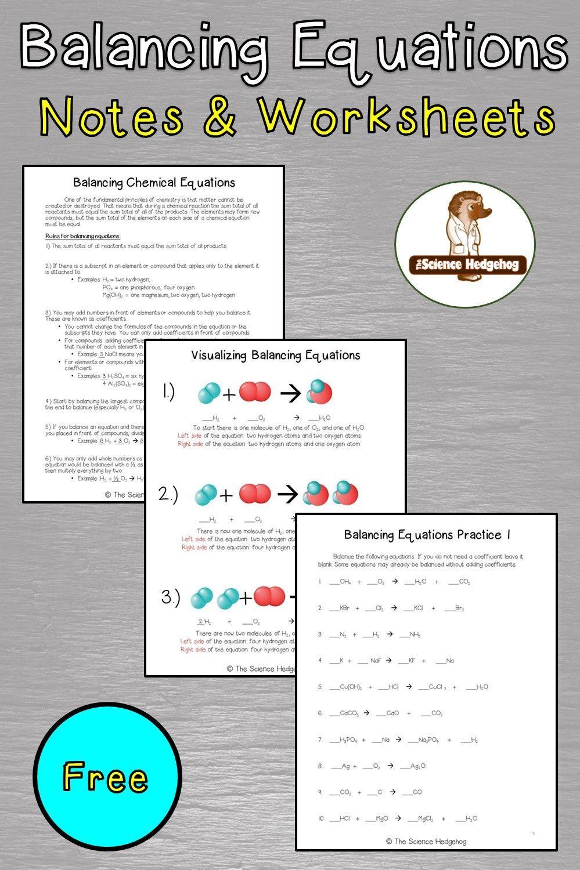 Balancing Equations Notes and Worksheet Balancing