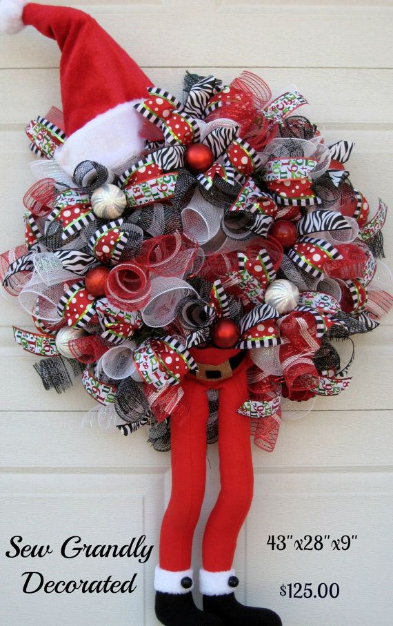Huge SALE Deco Mesh Christmas Wreath - Santa Claus is Coming to