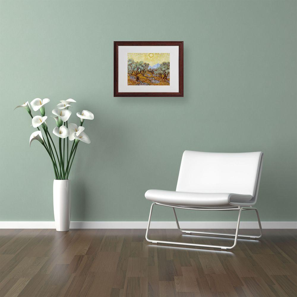 11 in. x 14 in. Olive Trees 1889 Matted Brown Framed Wall Art