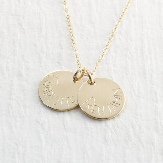 14k Gold Personalized Name Necklace Engraved jewelry necklace