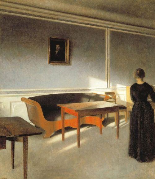 Vilhelm Hammershøi, Sunshine in the Drawing Room ll Intérieurs - peinture porte et fenetre