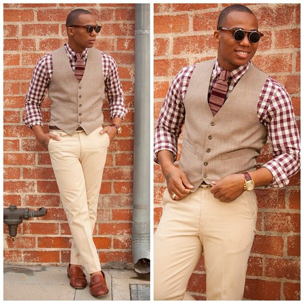 Brown and white checkered shirt, light brown vest, striped brown ...