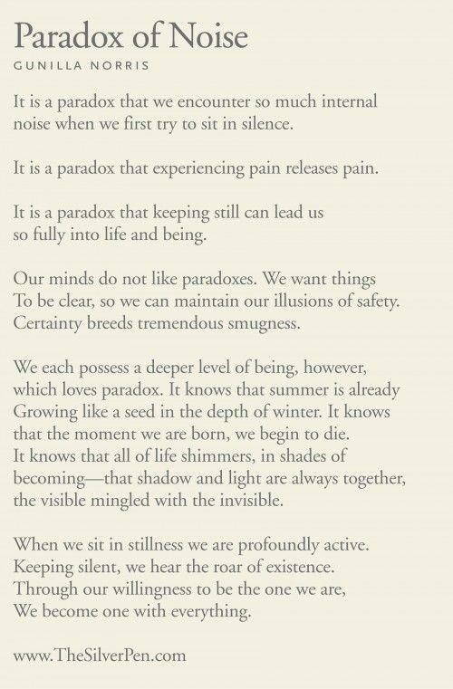 The Paradox of Noise - Gunilla Norris - The Silver Pen