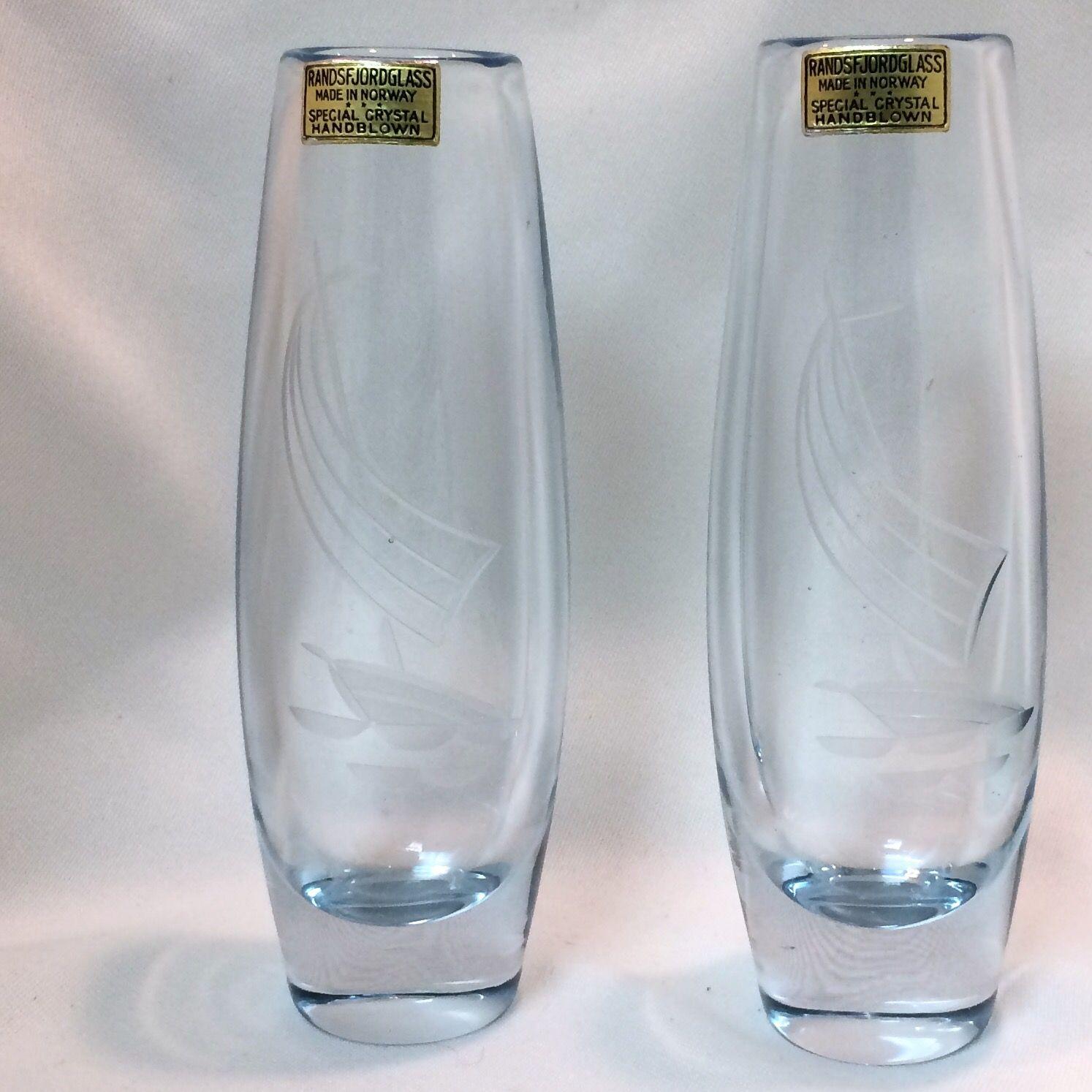 Vintage RANDSFJORDGLASS Blue Art Glass #Vases w/ Etched Sailboat -