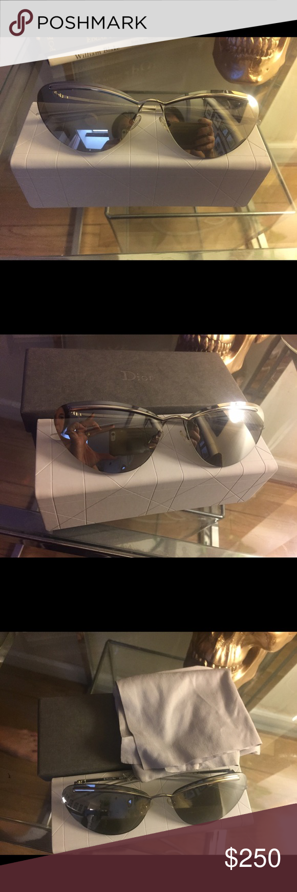 CHRISTIAN DIOR Sunglasses DIORETTE 010SS CHRISTIAN DIOR Designer Cat Eye Sunglasses DIORETTE 010SS Silver Grey Mirrored -new unused with original packaging. Lens width          62 MM, Bridge size 14MM, Temple arms 135MM Christian Dior Accessories Sunglasses