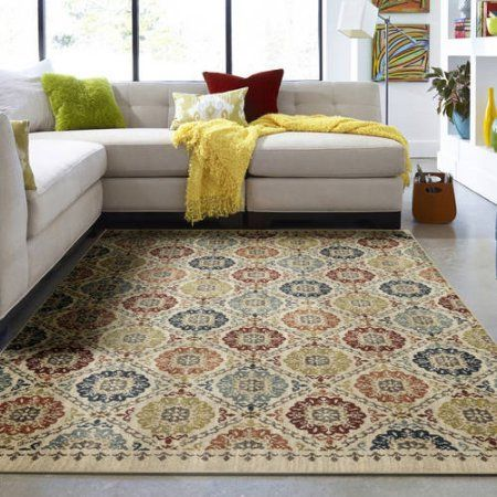 Mohawk Home Lifeguard Floral Medallion Accent Rug Blue Mohawk