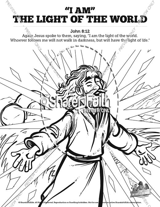 John 8 Light Of The World Sunday School Coloring Pages | Jesus ...