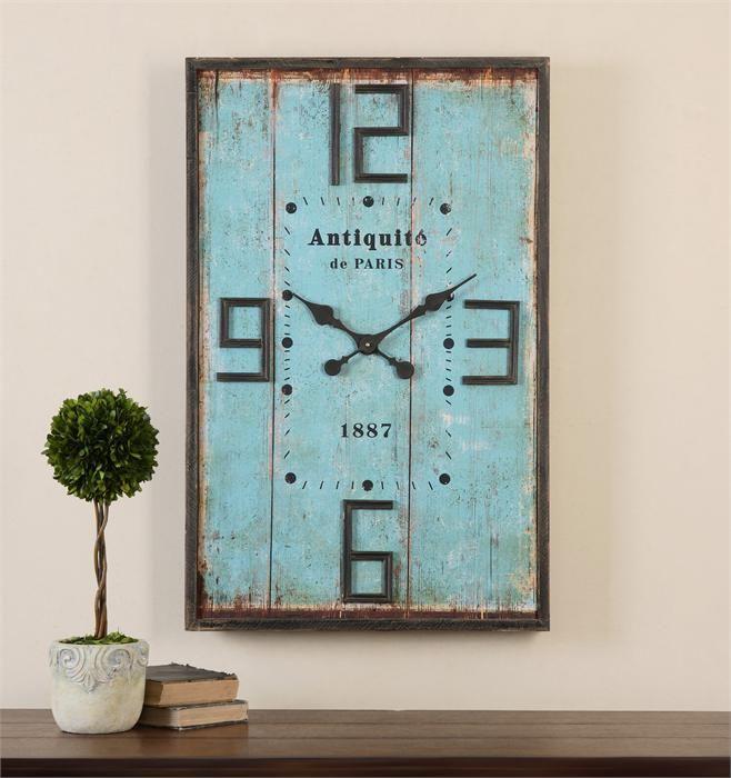 Antiquite De Paris Clock Avail 12 19 19 In 2020 Wall Clock Vintage Style Blue Wall Clocks Vintage Wall Clock