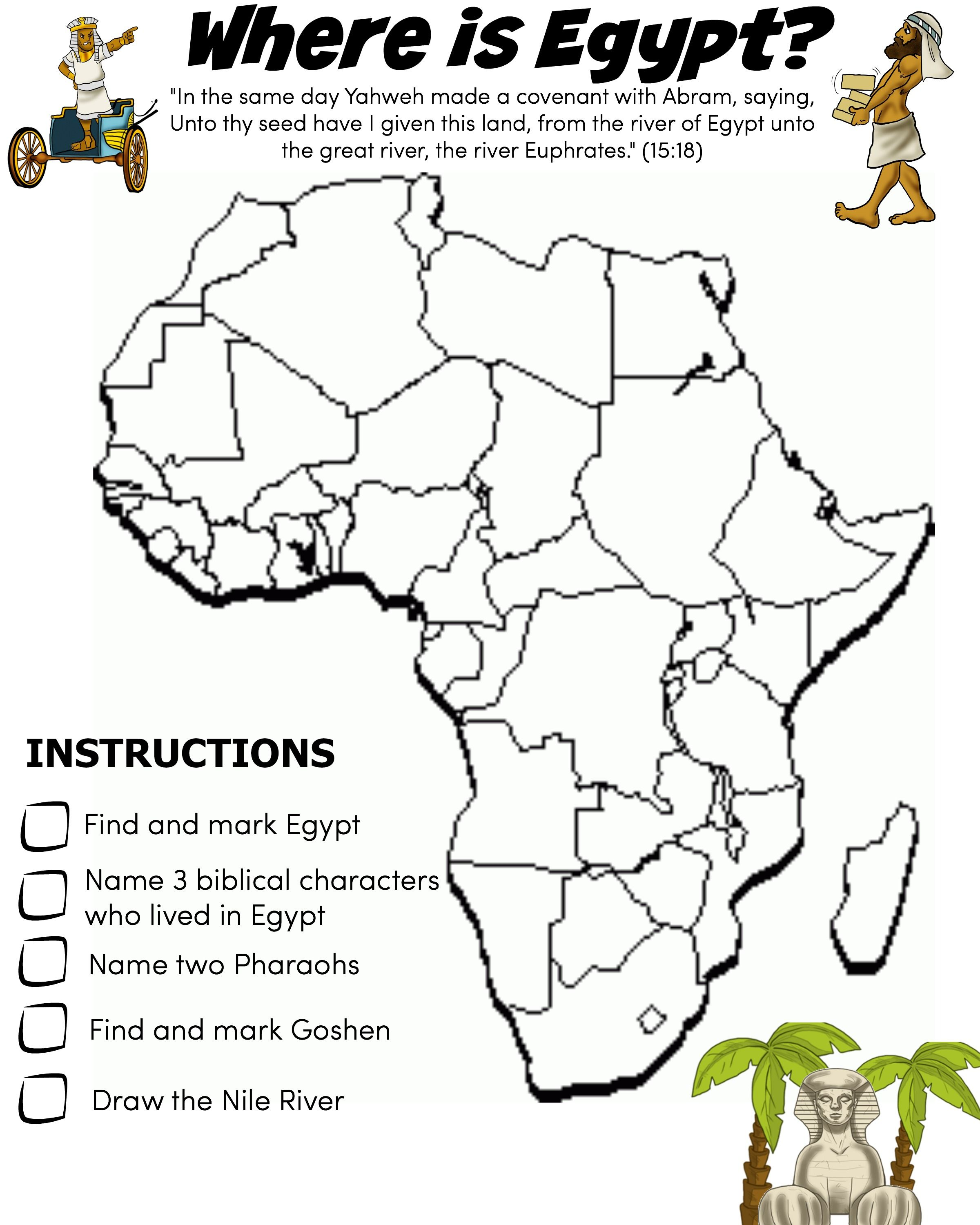 Free bible activities for kids worksheets homeschool and geography where is egypt worksheet free download robcynllc Images