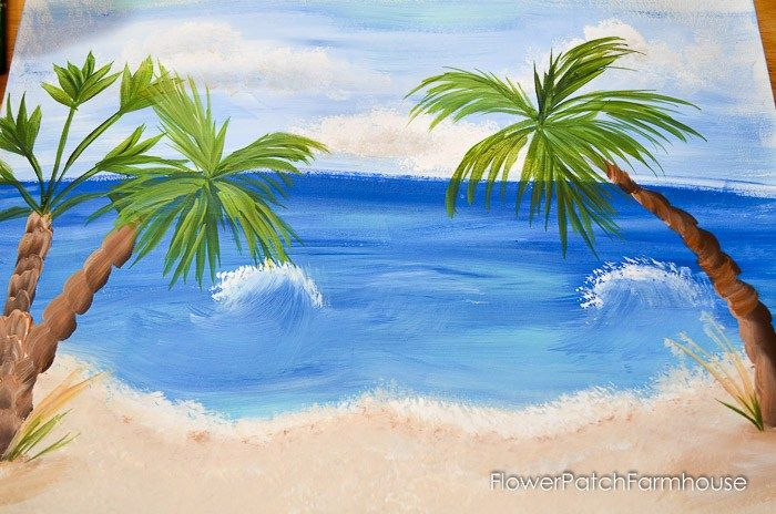 Easy Paint Palm Trees Palm Trees Painting Beach Scene Painting Tree Painting