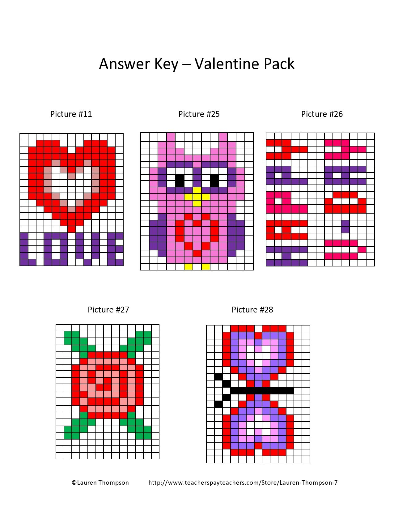 Valentine Coordinate Graph Mystery Pictures Met