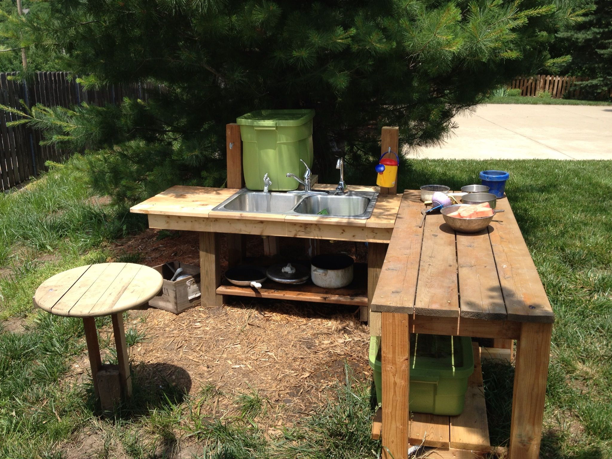 Mud kitchen upcycled pallet mud kitchen pallet kitchen counter with - My Kids Outdoor Mud Kitchen Complete With Tub Of Topsoil And Water Barrel To Make