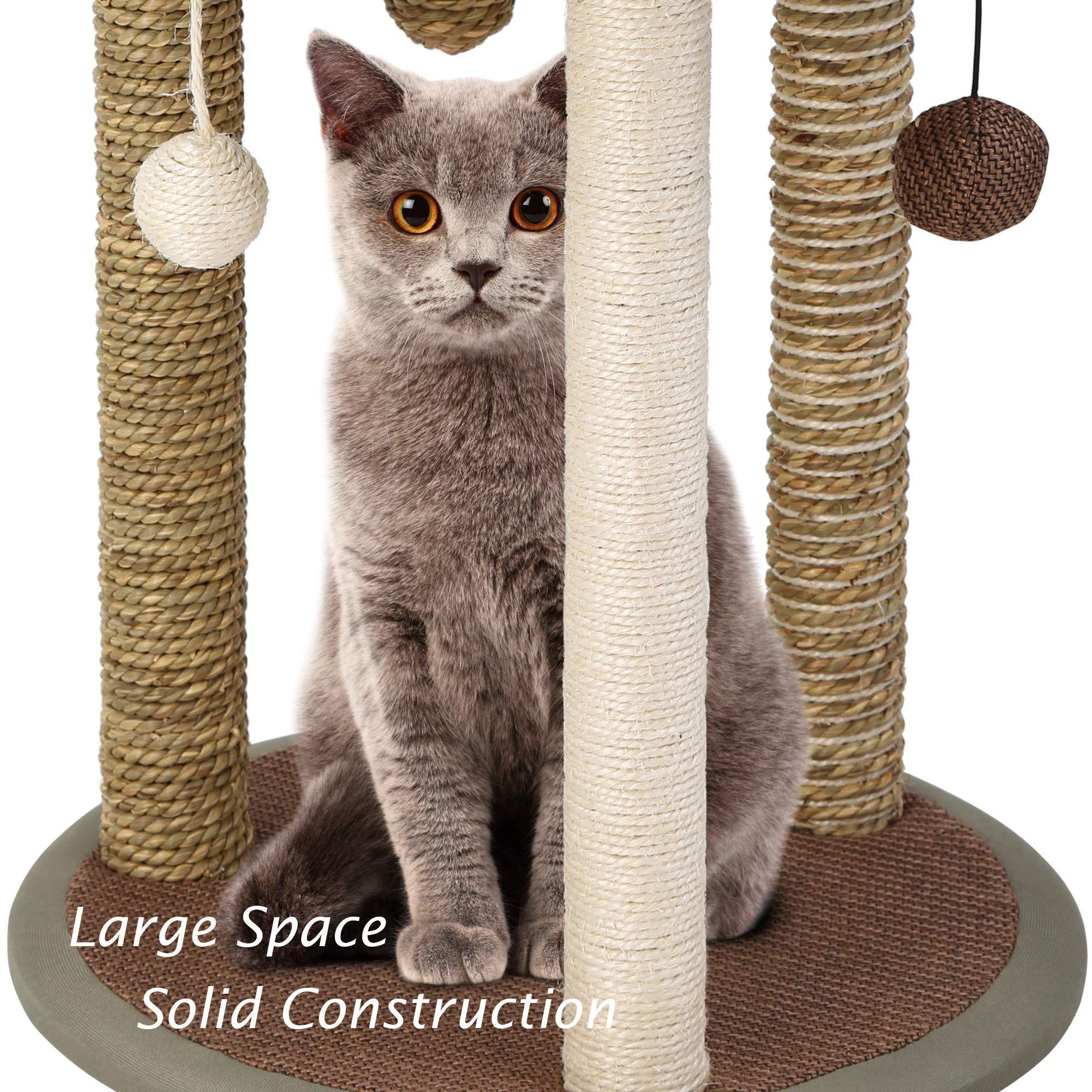 Qaqa Multi Level Cat Tree With Sisal Covered Scratching Posts Multi Platformplush Perches Cat House Tower Furniture Pet Toys Cat Scratcher Cat Scratching Post