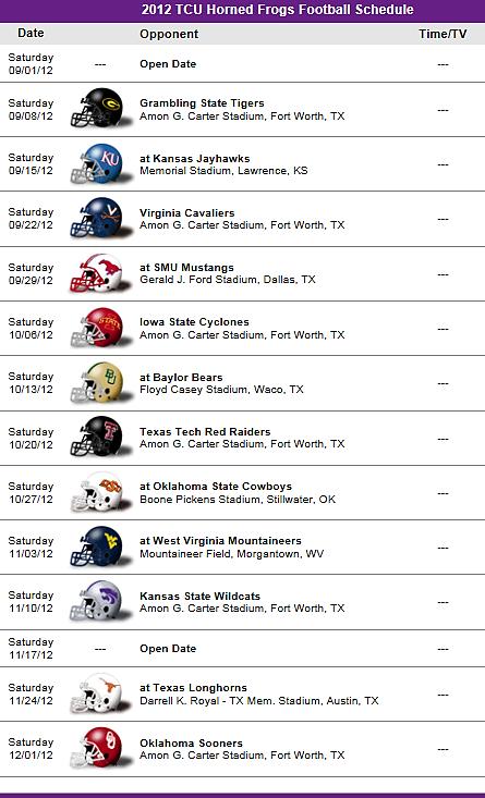 TCU Horned Frogs 2012 Football Schedule
